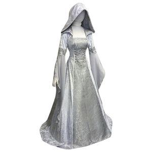Ortaçağ Kostüm Kadınlar Rönesans Hight Korse Retro Gotik Kapşonlu Elbise GOT Cosplay Elbise Uzun Kollu Robe