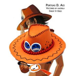Prix de gros One Piece Portgas D Ace Cosplay Chapeau Chapeau De Cowboy Souvenirs Pirates Caps Avec Bones Crâne Jouets
