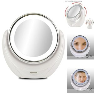 Make-up-Spiegel 5X Vergrößerungsdoppelseite mit 10 LED Glühlampen für kosmetische Hautpflege, Chrom poliert CX200630
