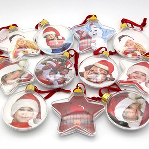 DIY transparente foto bola de cinco estrelas decorações de Natal enfeites de árvore partido dos Namorados presente do dia 2 estilo XD22304