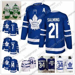 Toronto Maple Leafs # 1 Johnny Bower 7 Tim Horton 14 Dave Keon 21 Borje Salming 28 Cravatta Domi Blu Bianco Maglia da giocatore ritirata