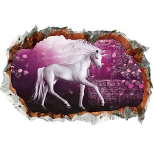 3D Rose Flower Unicorn Wall Stickers Home Decor Kids Baby Girls Bedroom Unicorn Wall Decals Wedding Decorative Stickers