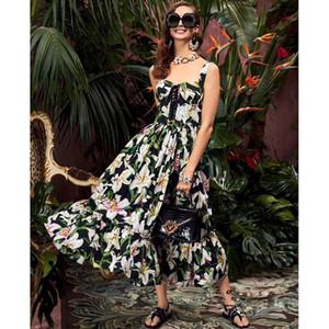 Nuovo progettista donne eleganti Runway Abiti Spaghetti Lily vestito da stampa donne di alta qualità Midi Abiti Milano Vestidos A91