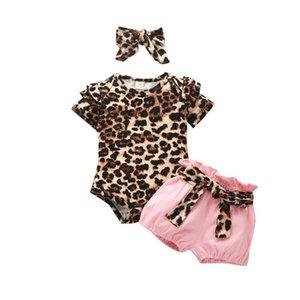 New Baby Girl Summer Clothing Set, Short Sleeve Ruffled Sunflower Jumpsuit + Bow Tie Belt Shorts + Hair band