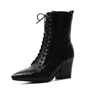 WIDEYIS en cuir véritable femmes bottes bottes en peluche courte bottes de neige à mi-mollet femmes Hauteur du talon (5-8cm) Taille Euro 34-43