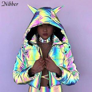 Renk eğlence Ceket T200301 neon Nibber Kış gökkuşağı Yansıtıcı Sıcak Ceket Kadınlar Coats2019 sonbahar kış Kapşonlu Kısa Ceket üst