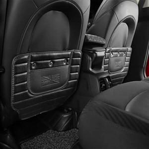 Углеродного волокна Печатные Автокресло Спинка Anti Kick Pad Кожа Anti Dirty Mat Задняя крышка сиденья для Mini Cooper Аксессуары
