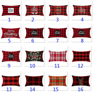 33 Styles Plaid Throw Pillow Case Covers Lumbar Oblong Rectangle Cushion Case Cotton Polyester For Sofa Grey 12 x 20 Inches HH9-2583