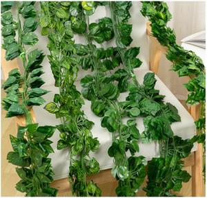 2m piante artificiali foglie di vite Boston foglie di edera viti decorazioni per la casa all'ingrosso Philodendron scandens foglia Hitom