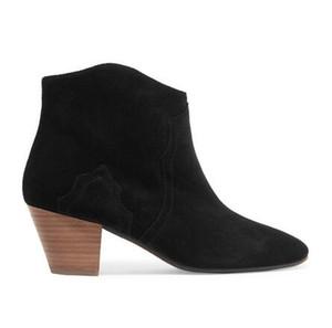 Kadınlar Moda Klasik Isabel Dicker Süet Bilek Boots Gerçek Deri Marant Kovboy Yeni Paris Çizme Ayakkabı