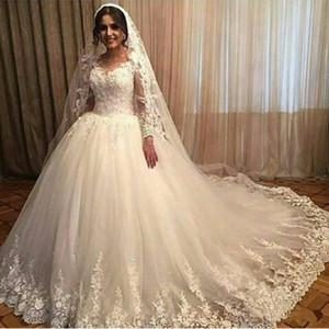 Appliques кружева свадебные свадебные сбывания прозрачные экипаж шеи с длинными рукавами шариковые платья Vestido de Noiva 2020 старинные винтажные чистые тюль плюс размер свадебное платье
