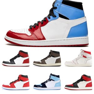 Jumpman Men 1 High Og 1S Basketball Shoes Travis&Nbspscott Banned Bred New Love Yellow Toe Black Unc Fearless Sports Sneakers Trainers #747