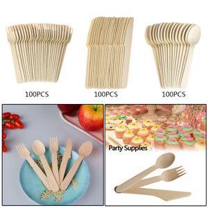 100pcs / pack de bambú de madera cubiertos biodegradables Cuchillos tenedores cucharas desechables de vajilla de cocina en el comedor Bar Vajilla 2020