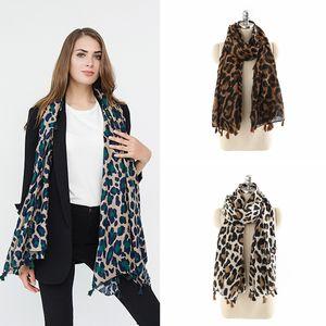 Fashion Woman Leopard Print Scarf Soft Warm Winter Gradient Color Scarf Outdoor Travel Lady Tassel Wrap Shawl TTA1452