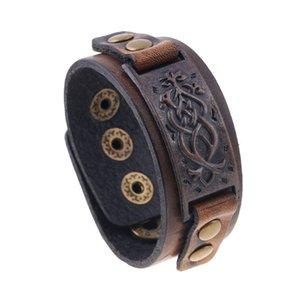 La moda de joyería de la vendimia punk pulsera del cuero de grabación en relieve hacer de edad de los hombres pulsera de la amistad regalos Accesorios Mujer