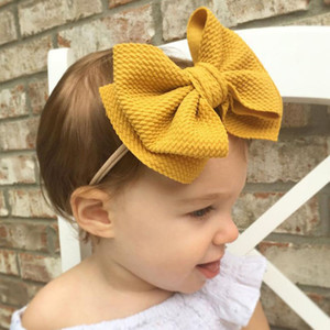 Bebek Bow Saç Bantları 16 Tasarım Katı Elastik Kafa Turban Big Bow Kafa Kız bebekler Bantlar Çocuk Şapkalar 07