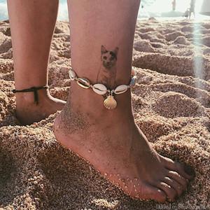 Shell ножной браслет Женщина богемский браслет девушки рук Woven Мода Пляж Shell Foot Chain Lady Заявление ювелирные изделия партии фестиваль подарков