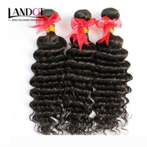 Brazilian Deep Curly Virgin Hair 3Pcs Lot Unprocessed Brazilian Deep Wave Human Hair Weaves Bundles Natural Color Thick Soft Natural Color