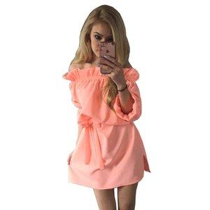 Candy Farbe Frauen Herbst Kleid Sexy Big Size Sommerkleid Rüschen Slash Neck Beach Party Kleider Vestidos de festa Robe femme 10742