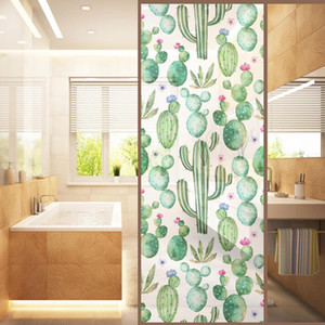 Tropical Style Stained Window Film Privacy Frosted Glass Sticker, 120*58cm, 7 Patterns Available