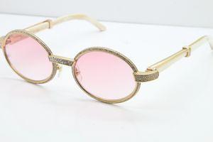 Розовый объектив Бесплатная доставка Солнцезащитные очки полный кадр Меньшие камни Белый Буффало Хорн Солнцезащитные очки 7550178 ВС Очки унисекс Круглые очки
