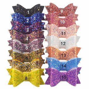 Firkete Kız Güzel Saç Aksesuarları ile 15pcs / lot Moda Glitter Deri Saç Bow