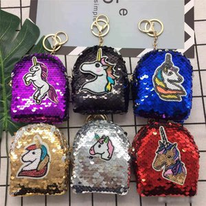 Borsa ragazze Mermaid Unicorn Scintillanti paillettes Coin con la sfera sveglio della peluche Borsellino del denaro donne mini raccoglitore pacchetto della moneta Bag Zipper la cuffia