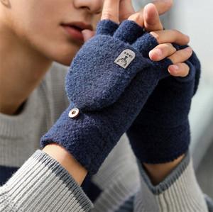 gants de sport couleur solide chaud hommes laine hiver concepteur tricot épais demi-doigt des gants multi-fonctions cadeau