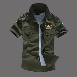 Hommes Pilot Chemises manches courtes Chemises TURN-Col MA1 Tops Avion Vêtements T-shirts Mode