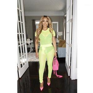 Sheer donne Tuta Slim di colore di modo naturale Suits Crop Top maniche corte pantaloni lunghi Sexy Mesh