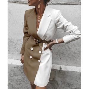 Contraste del color del diseñador mujeres de las chaquetas con paneles chaquetas del juego con el botón Fajas Manga larga de la solapa del cuello mujeres de la manera Coats