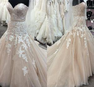Реальные фотографии Line Свадебные платья Милая кружевные бусы Sweep Поезд Свадебные платья Плюс Размер Свадебное платье Часовня Халат Марии