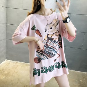 Brand Womens Summer T Shirt with Cartoon Printed Fashion Designer T Shirts Cute Women Tees 3 Colors One Size Fits All Clothing PH-YF205145