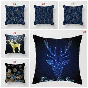 Christmas Party Decoration Pillow Cover Sofa Cushion Cover Santa Deer Elk Print Pillow Cover Xmas Pillow Case Christmas Ornament DBC VT0507