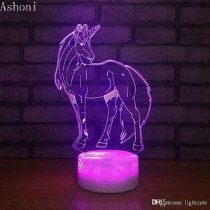 Дистанционные 16 цветов Unicorn 3D LED Night Light стол Настольная лампа Спальня Спящий Светильник Домашний декор рождественские подарки