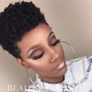 Glueless Lace Front Vierge Perruques de Cheveux Humains Complète Capless Dentelle Perruques Afro Crépus Bouclés Style Mode Perruques Afro-Américaines