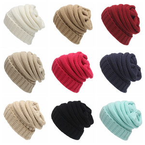 Fashion Woman Beanie Hat Solid Color Winter Warm Knitted Hat Outdoor Female Skullies Crochet Ski Cap TTA1687