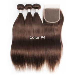 3 pacchi con chiusura a pizzo Colore 2 4 Bundles diritti diritti diritti marrone scuro Bundles crudo Virgin Indian Brasiliano Estensioni dei capelli umani peruviani brasiliani