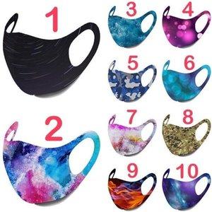 10colors estrellada Imprimir máscara máscaras del polvo anti cubierta lavable PM2.5 hielo del algodón de seda del cielo estrellado de Camo de la llama del oído que cuelga Máscara GGA3523-2