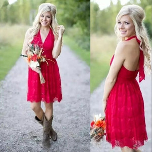 Short Cheap Dark Red Country Halter Full Lace Vintage Bridesmaid Dresses For Weddings Open Back Plus Size Formal Maid of Honor Gowns