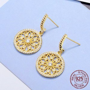 Bohemia Round Hoop Earring For Girl Crystal Big Flower Drop Statement Wholesale 925 Sterling Silver Yellow Gold Color Bride Wedding Jewelry