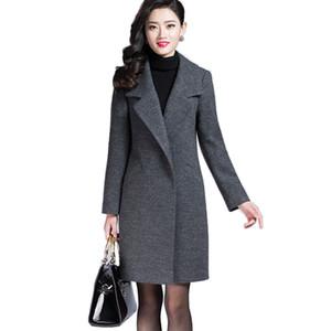 VogorSean Mulheres Outono Casaco de Inverno Misturas de Lã Quente Casaco Longo Cashmere Casacos Femininos Moda Europeia Jaqueta Outwear Plus Size