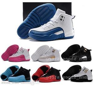 Enfants 12 Chaussures Enfants Chaussures De Basketball Garçon Fille 12s Ovo Français Bleu Le Maître De Taxi Playoff Chaussures De Sport Enfant Cadeau D'anniversaire