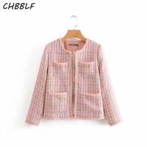 CHBBLF женщина элегантный стильные розовых куртки круглый воротник с длинным рукавом карманы дизайна твидовой женской свободной верхней одежды вершиной NJN1991