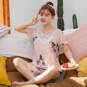 Pyjamas Womens Sommer-dünne kurzärmeliges Shorts koreanische Version von Mori Cute Student Home Service Pyjama Set Gelegenheitsnachtwäsche New