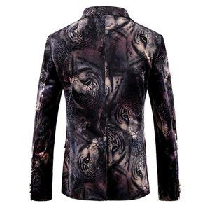Herrenmode Kleid Blazer Tops Tier gedruckte Jacken Mäntel Slim Fit Male Velvet Floral beiläufige Blazer Bühne Wear