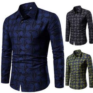 Primavera Mens Designer Shirt Moda Slim Floreale Stampato A Maniche Lunghe Camicie Uomo Casual Risvolto Collo Tops