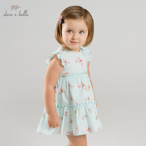 DBJ10123 dave bella summer baby girl's princess cute butterfly dress children fashion party dress kids infant lolita clothes