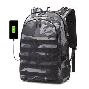 PUBG Zaino Uomini zainetto Mochila Pubg Battlefield Fanteria pacchetto camuffamento di viaggio su tela di ricarica USB Jack Torna zaino Maschio T200602