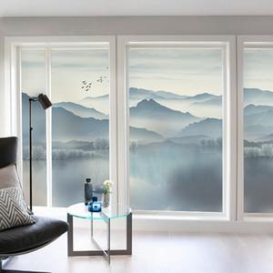 güneş kremi cam macunu filmi Y200416 opak Elektrostatik yapışkan İskandinav illüstrasyon yatak odası sürgülü kapı pencere
